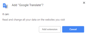 Google translate add extension pop-up
