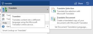 Microsoft Word translate ribbon