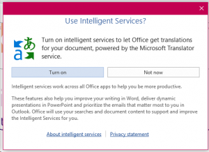Using Intelligent Services pop-up window